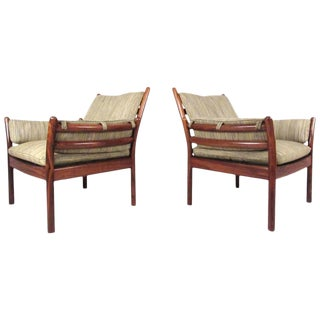 Mid-Century Illum Wikkelsø Rosewood Lounge Chairs for Cfc Silkeborg For Sale