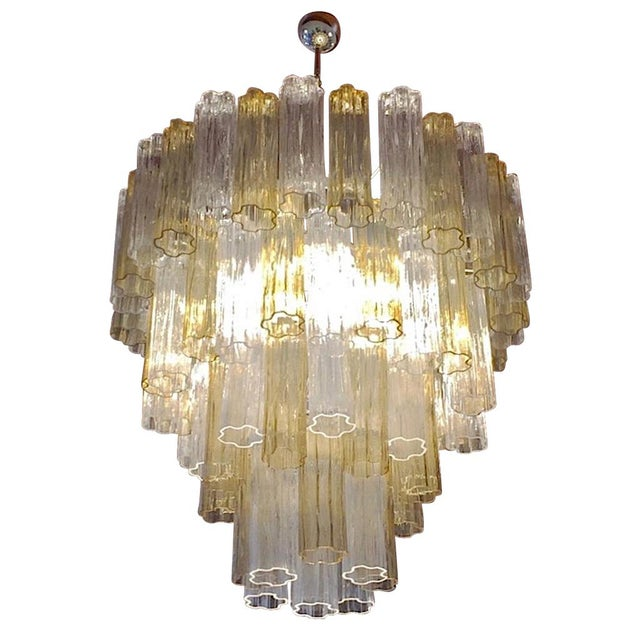 Italian Contemporary Amber & Crystal Clear Murano Glass Tronchi Star Chandelier For Sale - Image 11 of 11