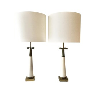 Pair of Stiffel Designed Table Lamps With Greek Key Detail For Sale