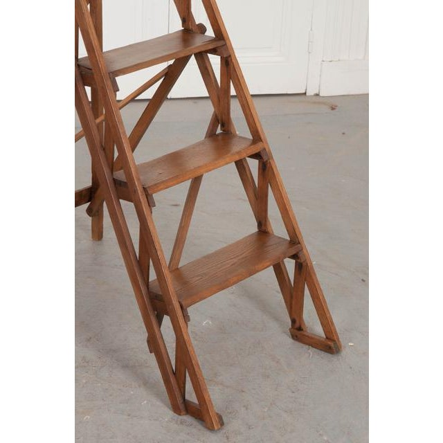 French Early 20th Century Oak Folding Ladder For Sale - Image 9 of 13