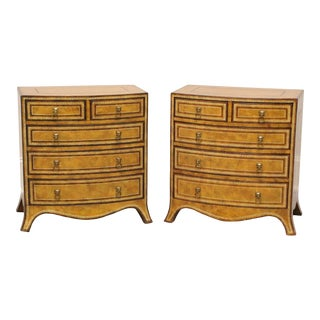 Maitland Smith Tooled Leather Georgian Bow Front Nighstands / Bedside Chests - Pair For Sale