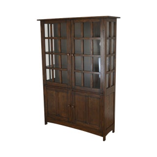 Mission Style Oak China Cabinet or Bookcase For Sale