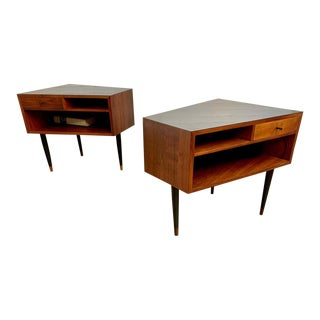 Mid Century Trapezoidal Shaped Nightstands - a Pair For Sale