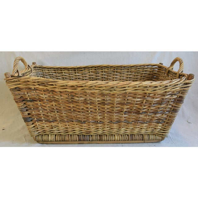 Large Early 1900s French Woven Wicker/Willow Market Basket For Sale - Image 10 of 11