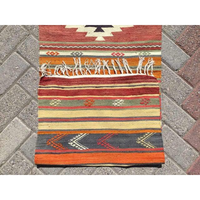 Textile Vintage Turkish Kilim RugTurkish Kilim Runner Rug For Sale - Image 7 of 8