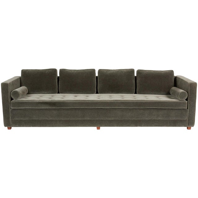Wood Tuxedo Sofa in Mohair For Sale - Image 7 of 7