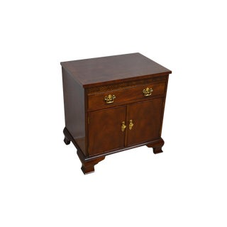 20th Century Chippendale Baker Mahogany Banded Bedside Table For Sale