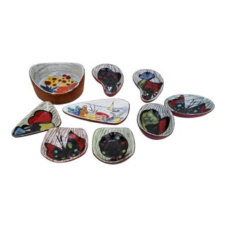 Italian Art Leather Backed Decorative Ceramic Dishes - Set of 9 For Sale