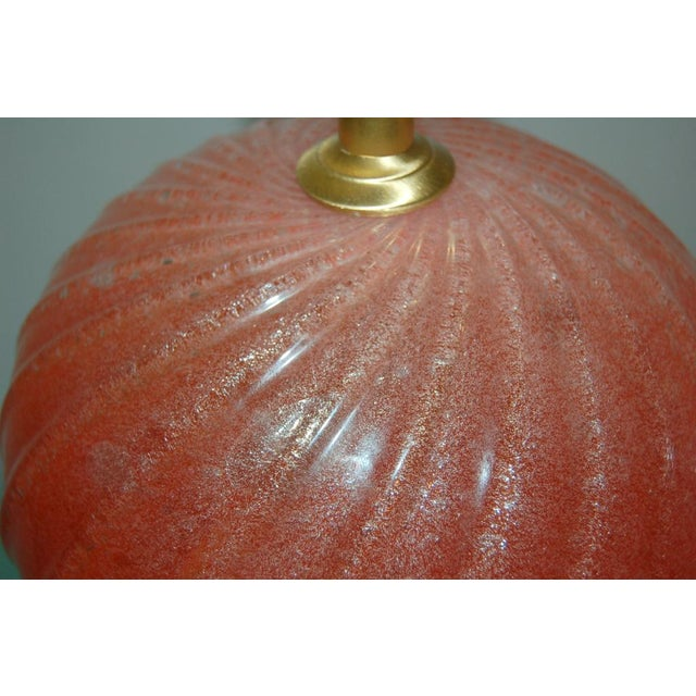 Vintage Murano Pulegoso Glass Ball Table Lamps Melon For Sale In Little Rock - Image 6 of 8
