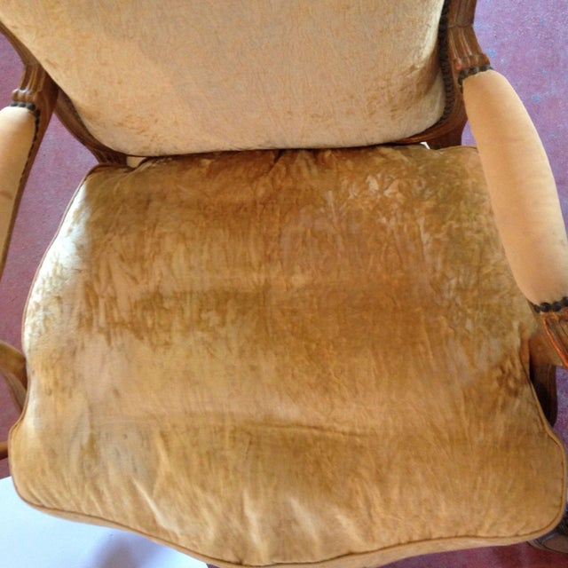 Wood 20th Century French Crushed Velvet Gilt-Framed Chairs - a Pair For Sale - Image 7 of 12