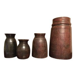 Vintage Carved Wooden Jars - Set of 4 For Sale