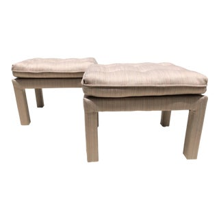 Vintage Billy Baldwin Style Upholstered Ottomans- a Pair