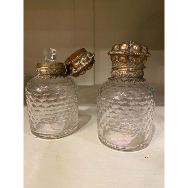 19th Century Bronze and Glass Inkwells From France - a Pair For Sale - Image 5 of 7