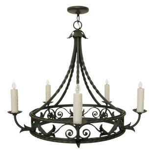 Randy Esada Designs Spanish Mediterranean Wrought Iron Chandelier For Sale