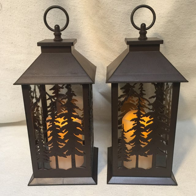 Metal & Glass Forest Silhouette Lanterns - A Pair - Image 2 of 10
