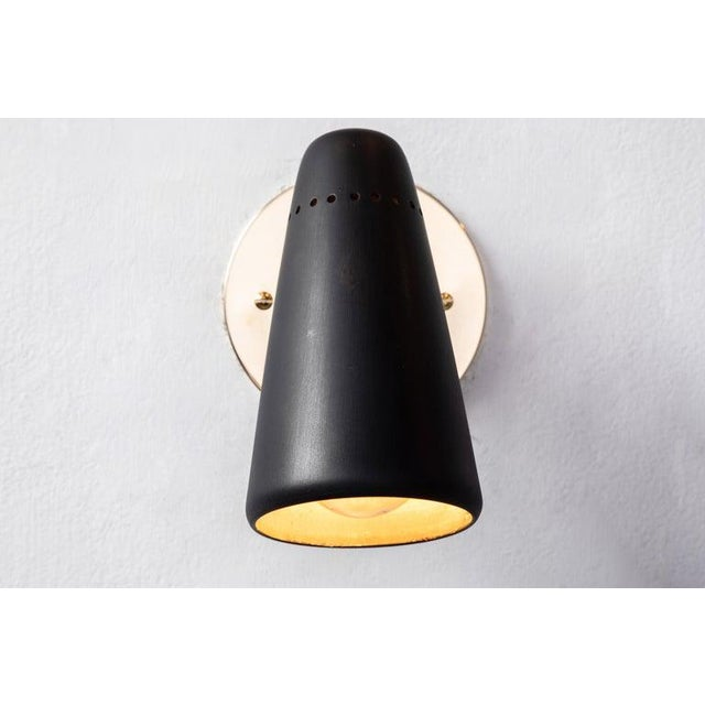 1950s 1950s Mid-Century Modern Stilnovo Sconces in Black and Brass With Yellow Label For Sale - Image 5 of 13