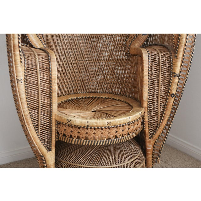 Wicker Vintage Rattan and Wicker Peacock Chair For Sale - Image 7 of 10