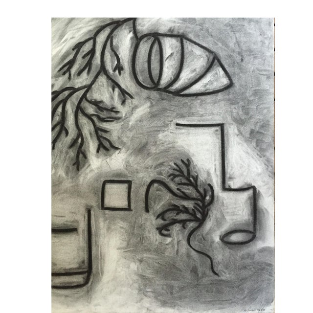 1978 Charcoal Abstract Drawing Bay Area Artist Signed For Sale
