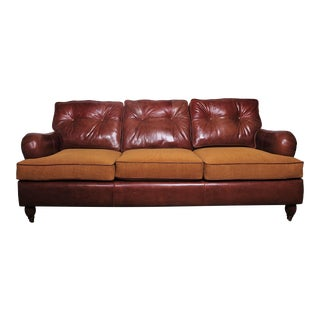 Leather English Rolled Arm Sofa With Woodand Brass Legs