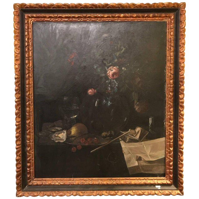 19th Century Oil on Canvas Still Life Signed with Label in an Ebony & Gilt Frame For Sale