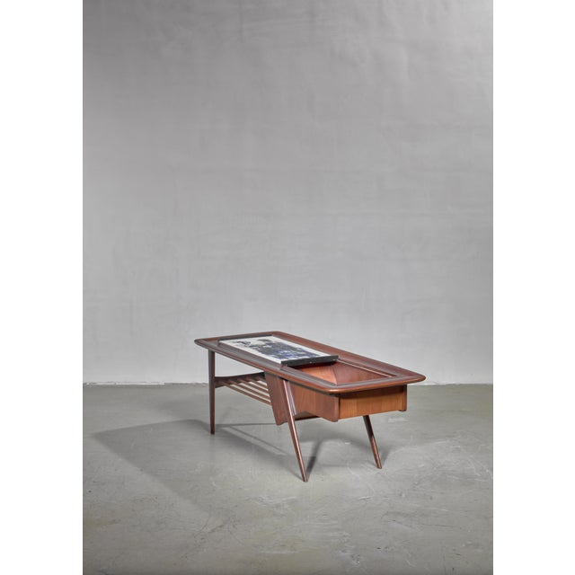 Mid-Century Modern Alfred Hendrickx Side Table With Ceramic Tiles, Belgium, 1950s For Sale - Image 3 of 6