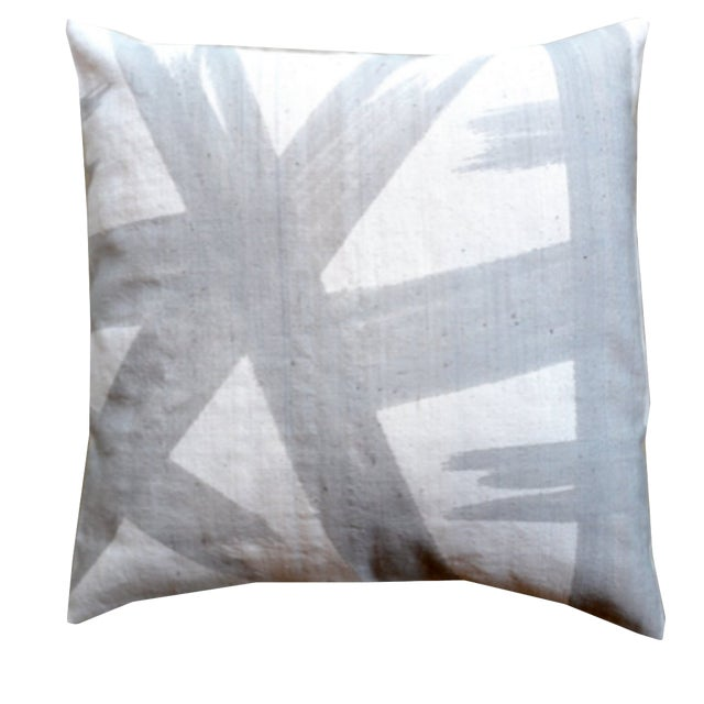 Grey Mudcloth Pillow Cover For Sale
