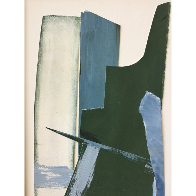 Abstract Abstract Painting Collage Blue and Green For Sale - Image 3 of 6