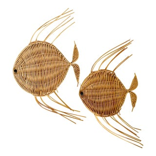 Vintage Mid-Century Modern Woven Fish Wall Hangings - a Pair For Sale
