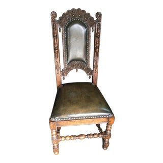 Johnathan Charles Jacobean Style Leather Seat Side Chair For Sale