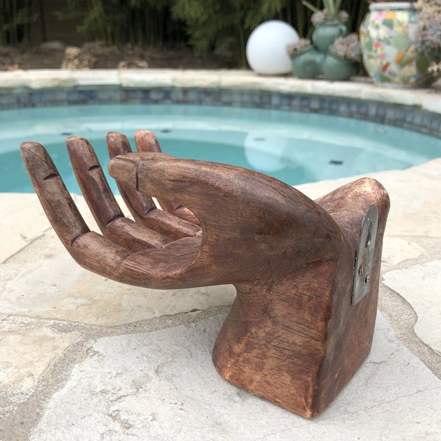 Primitive Bohemian Carved Wooden Human Hand Sculptural Shelf For Sale In Austin - Image 6 of 10