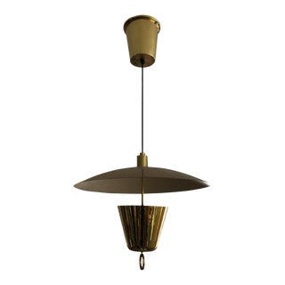 1950s Lightolier Brass Pull Down Mid Century Modern Pendant Light For Sale