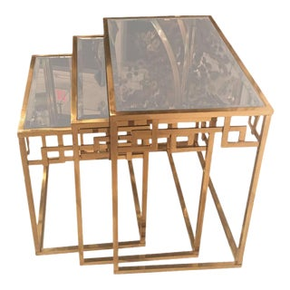 Brass Greek Key & Glass Italian Nesting Tables - Set of 3