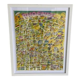 Vintage 1988 Advertisement Map of Phoenix, Arizona Framed Print For Sale