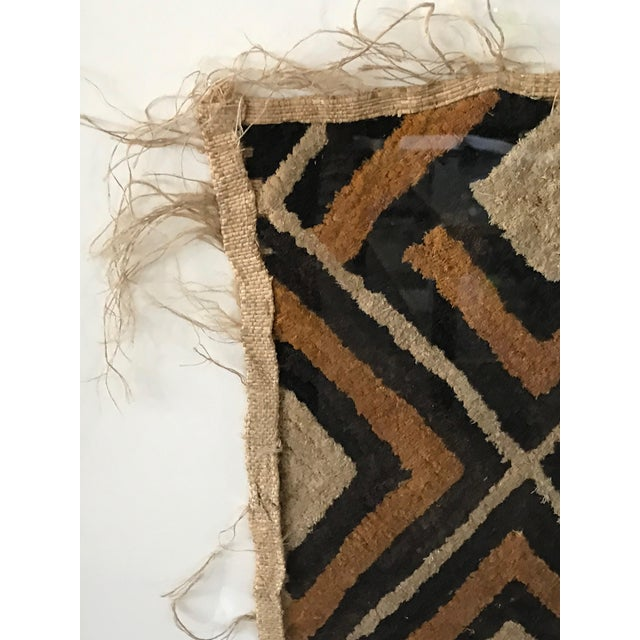 Late 20th Century Antique African Diamond Pattern Kuba Cloth Tapestry in Custom Frame For Sale - Image 5 of 7