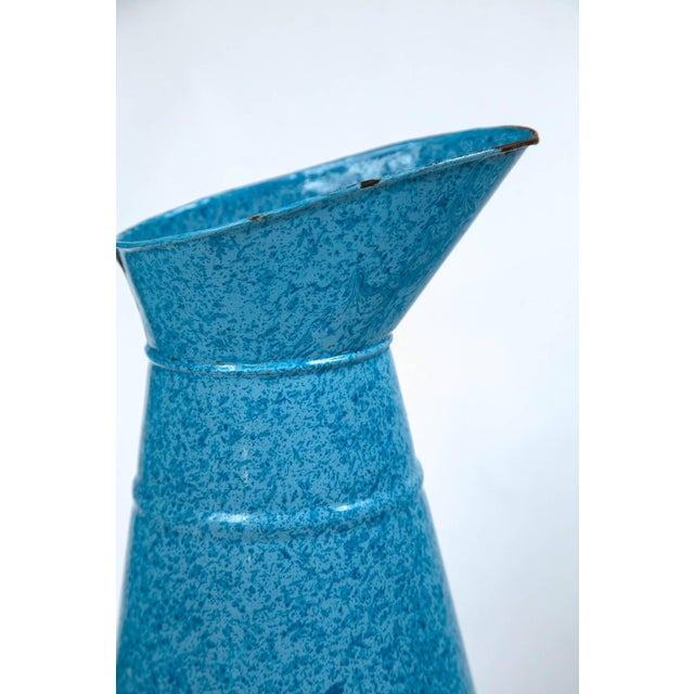 French Vintage French Enamelware Pitcher, Circa 1920 For Sale - Image 3 of 6
