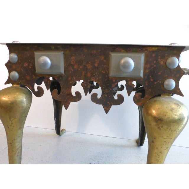 Brass, Iron & Steel Side Table For Sale In Miami - Image 6 of 6