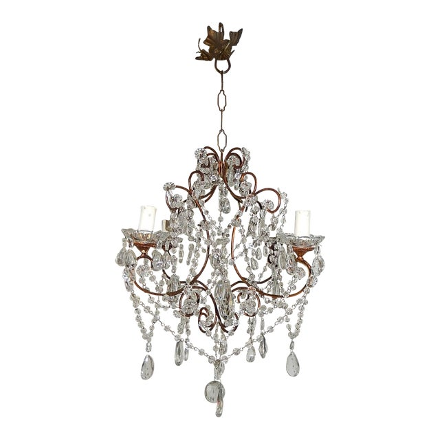 1920, French, Swags and Crystal Prisms Chandelier For Sale