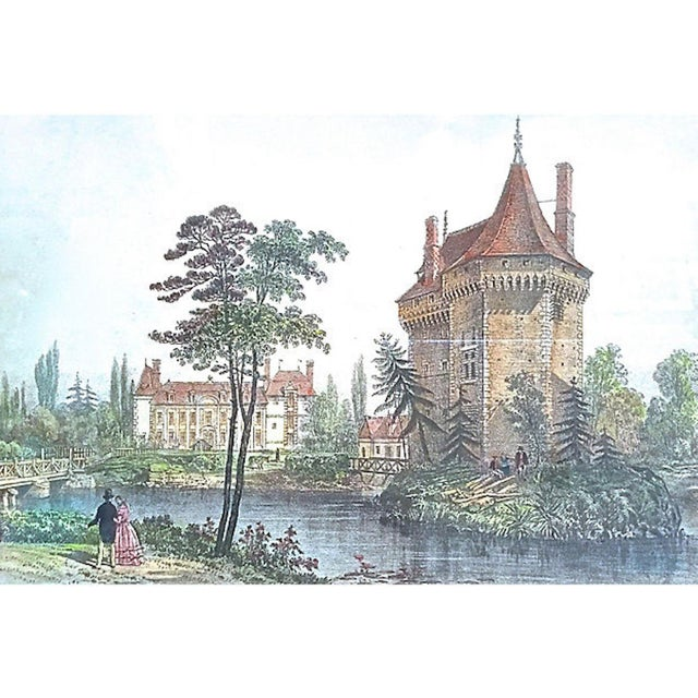 French 19th Century Antique Normandy Chateau Engraving For Sale - Image 3 of 8