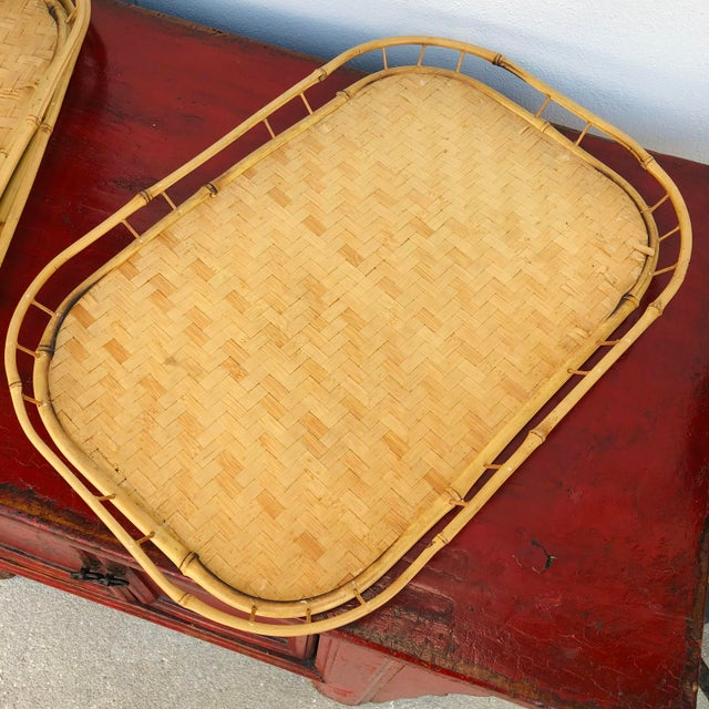 Mid 20th Century Vintage Mid Century Rattan Serving Trays - Set of 3 For Sale - Image 5 of 12
