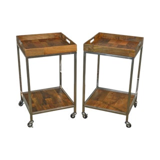 Mid Century Modern Style Pair of Chrome Frame Wood Tray Top Serving Carts