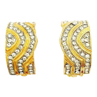 Geometric Pavé Crystal Earrings by Kenneth Jay Lane For Sale