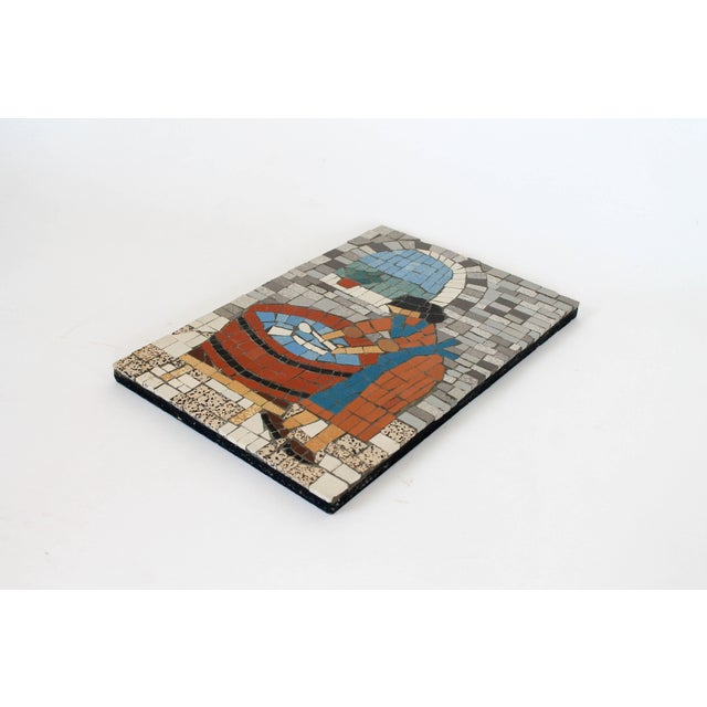 Handmade mosaic wall art of a woman at a wash tub. Made in Northern France. One small chip on a top tile (pictured)....