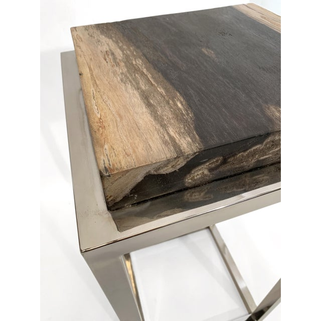 Modern Modern Palecek Fossilized Stone Tall Side Table With Chrome Base For Sale - Image 3 of 6