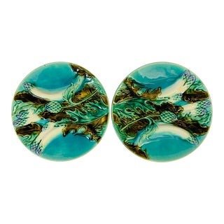 Antique French Barbotine Majolica Turquoise Asparagus Plates - a Pair For Sale