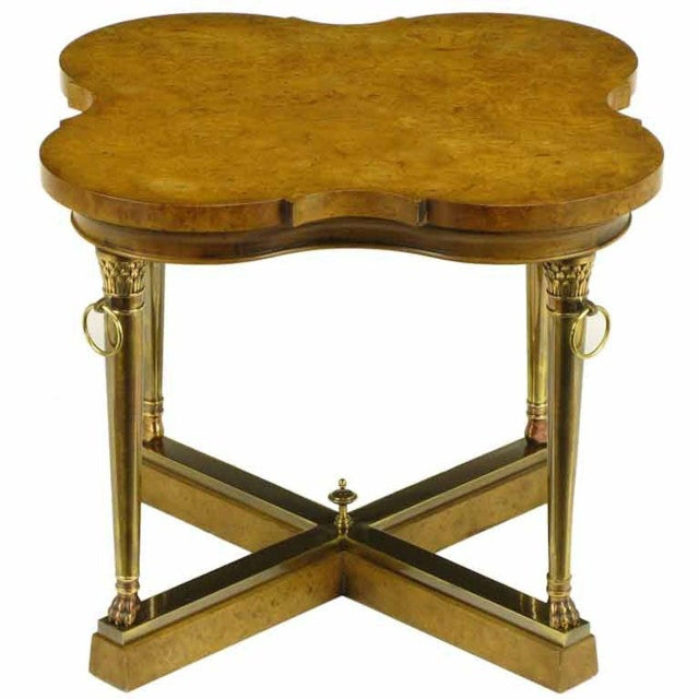 Mastercraft Empire Style Bronze and Burl Quatrefoil End Table For Sale - Image 10 of 10