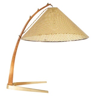 Mid-Century Modern Brass and Walnut Table Lamp With Perforated Enameled Shade For Sale