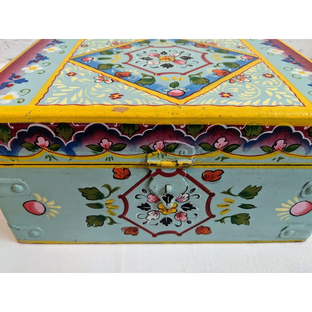 Metal Vintage Mid-Century Folk Art Painted Wooden Box For Sale - Image 7 of 11