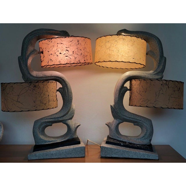 Fabulous 1950s Chalkware Table Lamp Set With Fiberglass Shades Mid Century Modern Atomic Era Retro For Sale In Saint Louis - Image 6 of 13