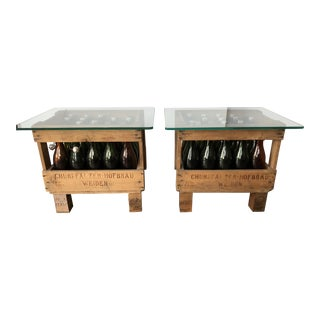 German Beer Bottles in Crates Custom Side Tables - A Pair For Sale