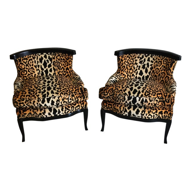 Velvet Leopard Print Slipper Chairs - a Pair For Sale